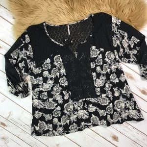 Free People Tunic Top with Black Roses